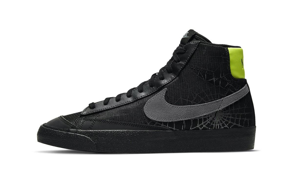 3M的反光蜘蛛网装饰了这款Nike Blazer Mid的中部